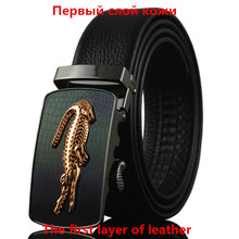 First layer of leather Men's automatic belt Crocodile Pegasus logo alloy buckle Body width 3.5CM Designers high quality Business
