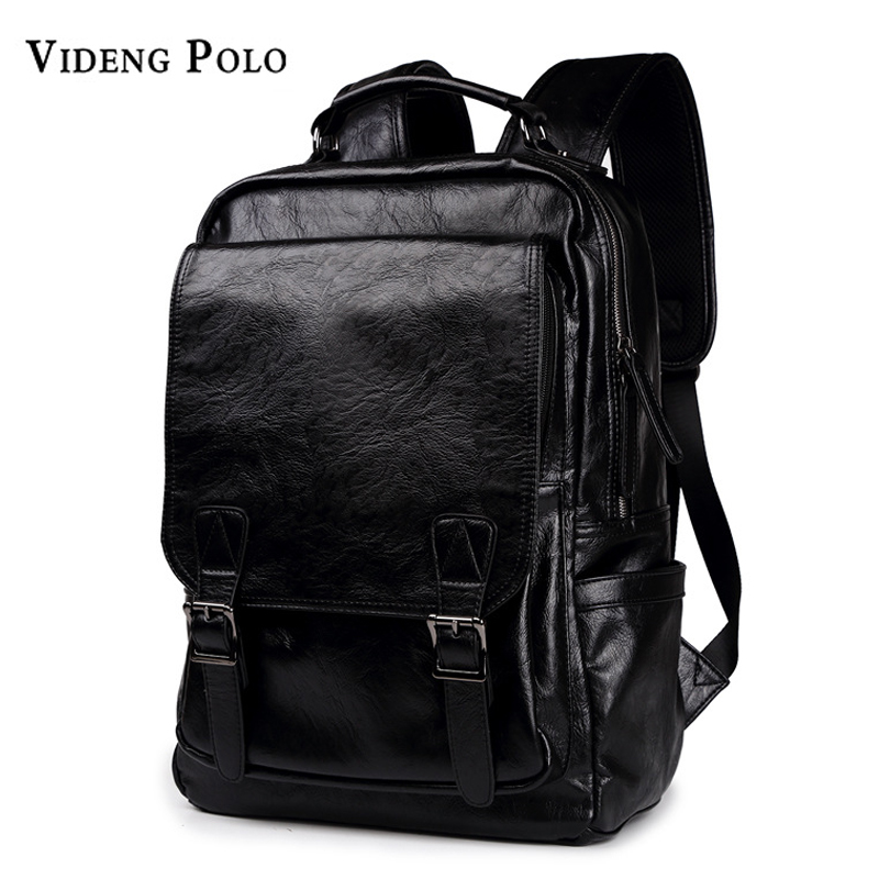 VIDENG POLO Men Bag Leather Men Backpack High Quality School Bag Male Laptop Daypack Casual Rucksack Mochila Travel Shoulder Bag logona color care