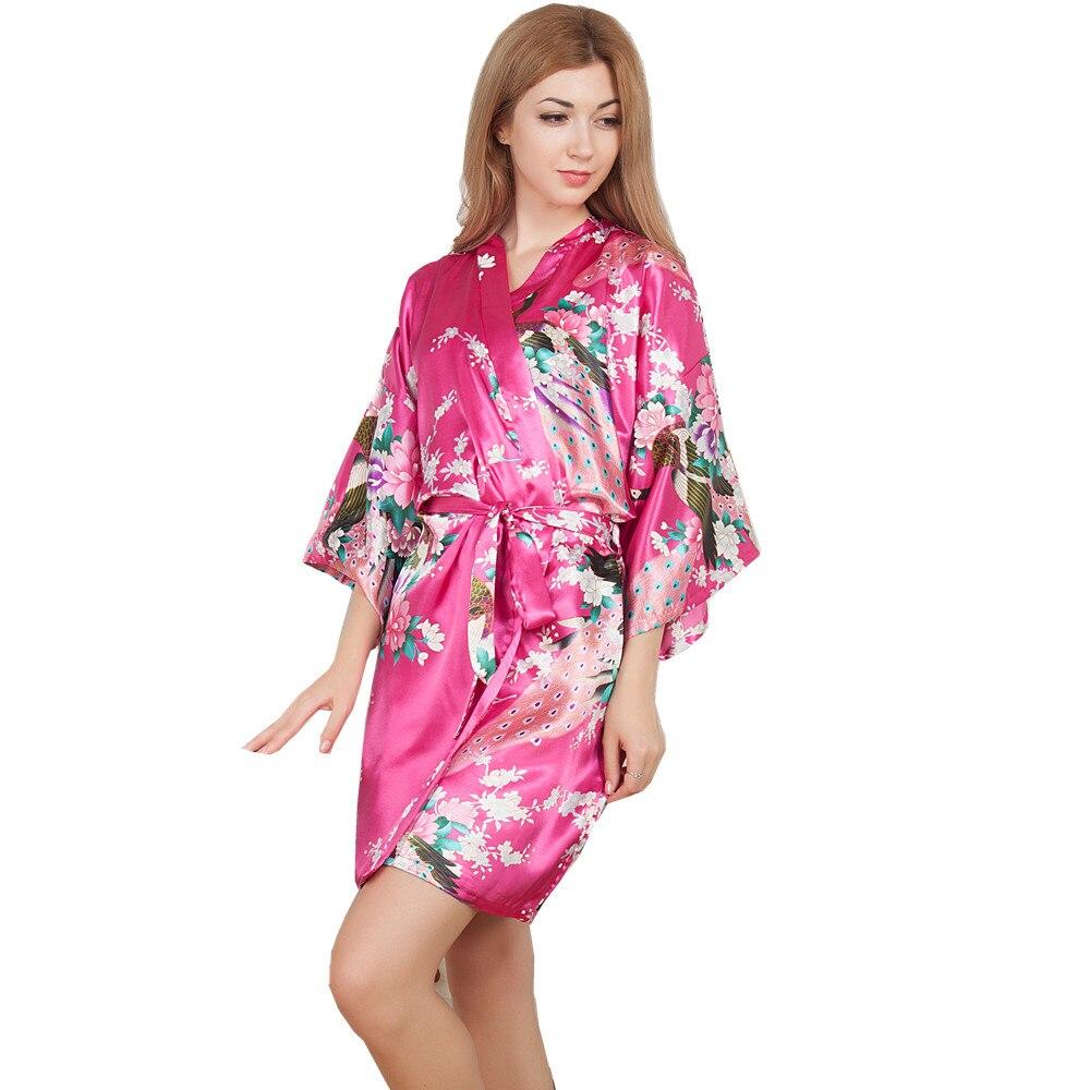 New Wedding Bride Bridesmaid Robe Floral Bathrobe Short Kimono Night Robe Bath Robe Fashion Dressing Gown For Women One Size T09