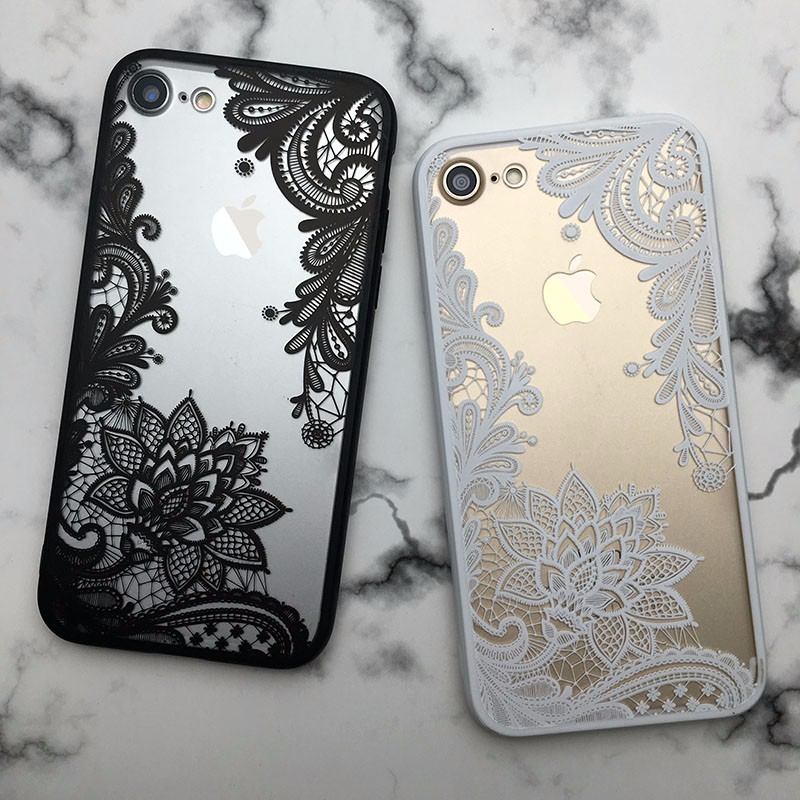 Lotus Lace Flower Mandala Clear Case For iPhone 7 6 6S Plus Vintage Back Phone Capa Cover