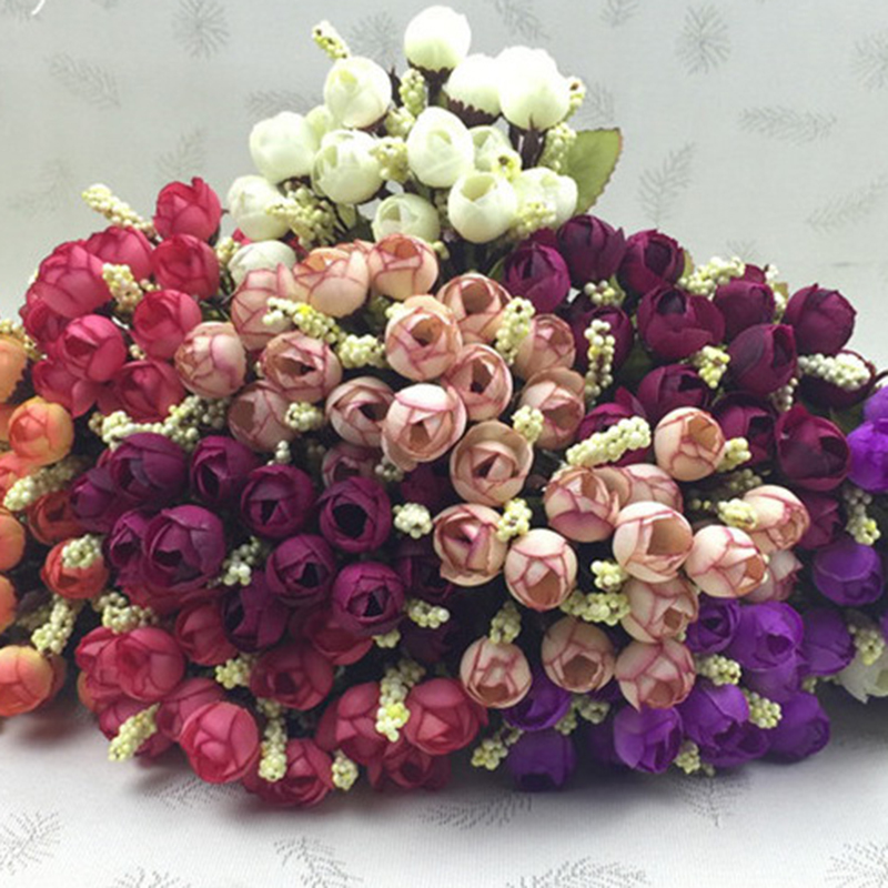 15Heads Mini Silk Peony Artificial Flowers Bride Bouquet For Wedding Home Party Decoration