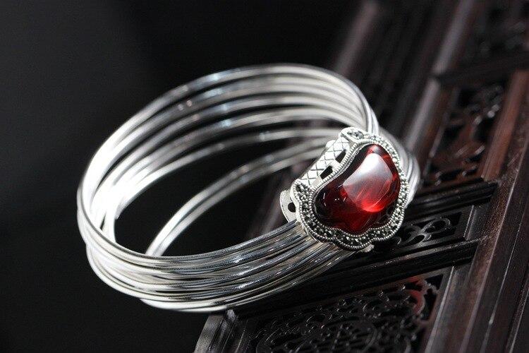 925 bracelet en argent sterling polycyclique femme grenat jacinthe rétro petite serrure en argent Thai bracelet en argent femmes