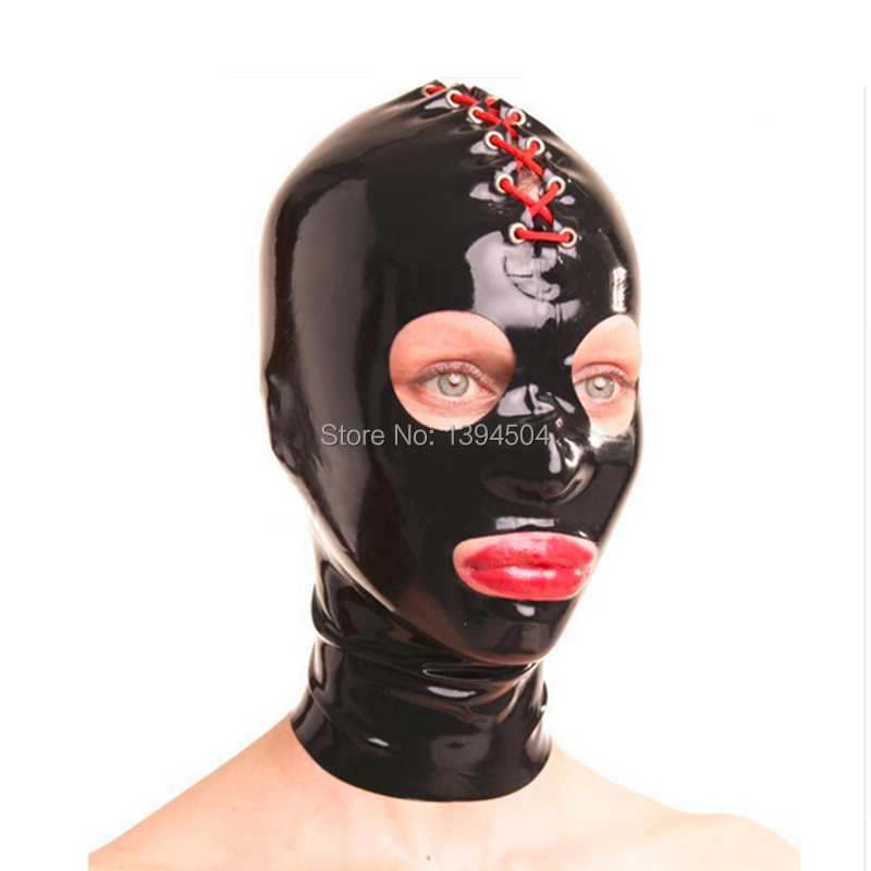 New hot party Solid exotic Female Sexy Women Latex Lacing Lace Hoods Open Eyes&mouth Mask customize size XS-XXL free shipping