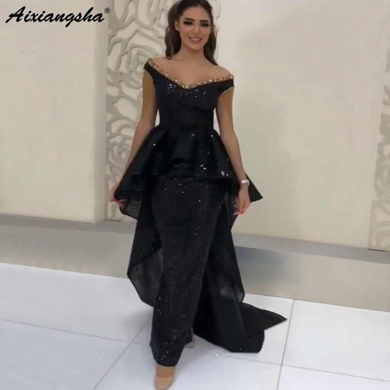 Black Muslim   Evening     Dresses   2019 V-Neck Off the Shoulder Sequin Dubai Kaftan Prom   Dress   Saudi Arabic Elegant Long   Evening   Gowns