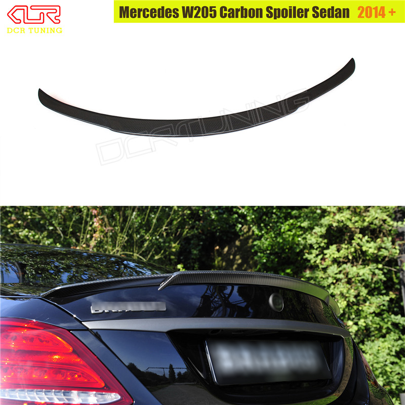 For Mercedes W205 Carbon Spoiler 4-Door Sedan C63 C180 C200 C250 C260 Carbon Fiber Rear Trunk Spoiler For Brabus Style 2014 - UP mercedes carbon fiber trunk amg style spoiler fit for benz e class w207 2 door 2010 2015 coupe convertible vehicles