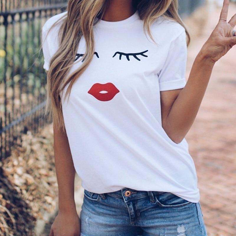 FIXSYS Cute Print Women T Shirt Summer Casual Short Sleeve T-shirt Ladies White TShirt Tops O Neck Tee Shirt Cotton Tee Shirt