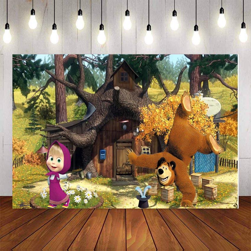 Виниловый фон для фотосъемки с изображением героев мультфильма «Маша и Медведь» для дня рождения, вечеринки, детского леса, фотостудии|Фон| | - AliExpress