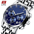 TTLIFE Auto Date Watch Men Water Resistant Stainless Steel Men Watch Fashion Dress Business Design Quartz-Watch