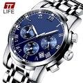 TTLIFE Auto Fecha Reloj Hombres de Acero Inoxidable Resistente Al Agua Reloj de Los Hombres Vestido de La Manera de Negocios de Diseño de Reloj de Cuarzo