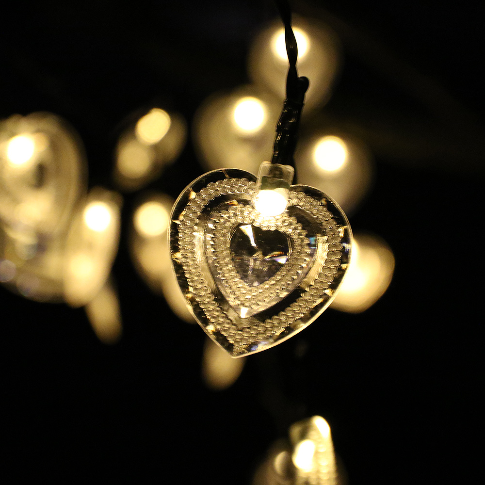 8 Lighting Modes 6M 30LEDs Battery Powered Heart Shape LED String lights Waterproof Valentine Fairy lights With Remote Control