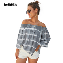 Sexy Women Off Shoulder Blouse Cotton Long Sleeve Tie-dye Print Shirts Fashion Tassel Clothes Chic Tops 2019 Autumn New