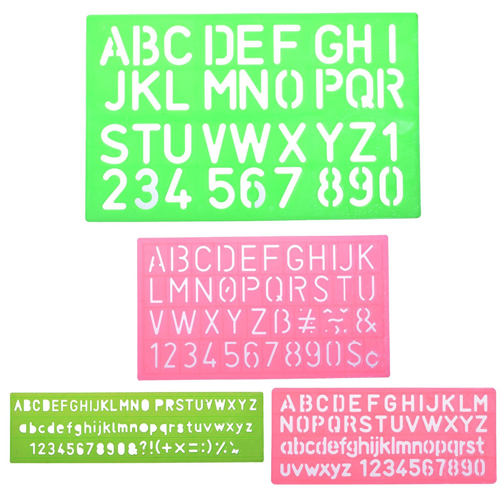 4pcs Assorted Colors Plastic Letter and Alphabet Stencil Sets ...