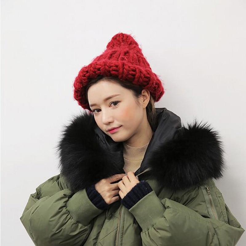 где купить  Korean Version New Winter Shag Woolen Yarn Warm Hat Pure Handmade Pointed Caps Winer Hats For Women Skullies Beanies 3 Colors  по лучшей цене