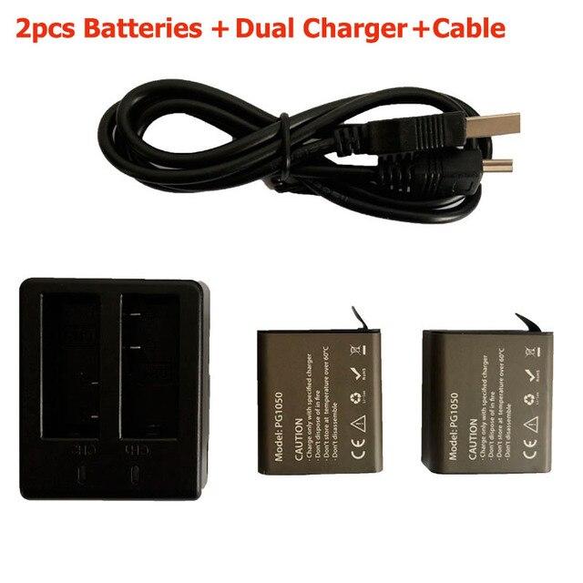 Action Camera Battery Set with 2pcs Battery + Dual Charger + cable For EKEN H9 H9R Plus H3R H8PRO H8R H8 Pro SJ4000 SJ5000
