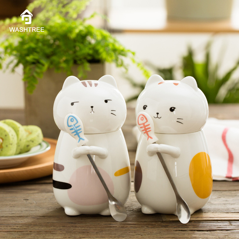 Funny Cat Style Ceramic Cup with Lid and Spoon Juice Lemon Mugs Milk Coffee Tea Cup Office Drinkware Unique Gift For Children