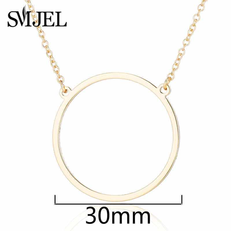 SMJEL Simple cercle géométrique colliers femmes enfants en acier inoxydable pendentif collier ras du cou Collares amitié cadeaux