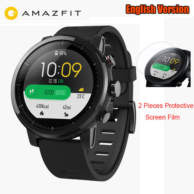 US $179 99 |English Xiaomi HUAMI AMAZFIT Stratos Watch 2 Sports Watch 1 34  Inch 2 5D Screen 5ATM Water Resistant GPS WOS2 0 Strava App-in Smart