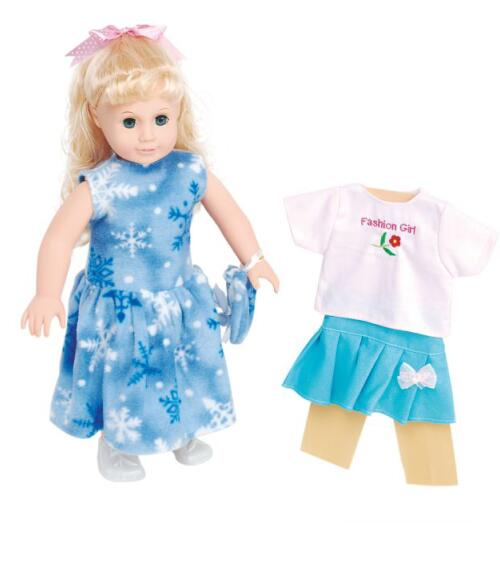ФОТО light blue dress 18inch american girl toy long blonde hair pricess dolls with 2 sets clothes