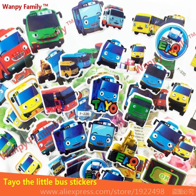 10 pçs / lote 3d dos desenhos animados tayo adesivos de parede de ônibus, muito adorável tayo o pequeno ônibus adesivos, para quartos de crianças moda decor adesivos