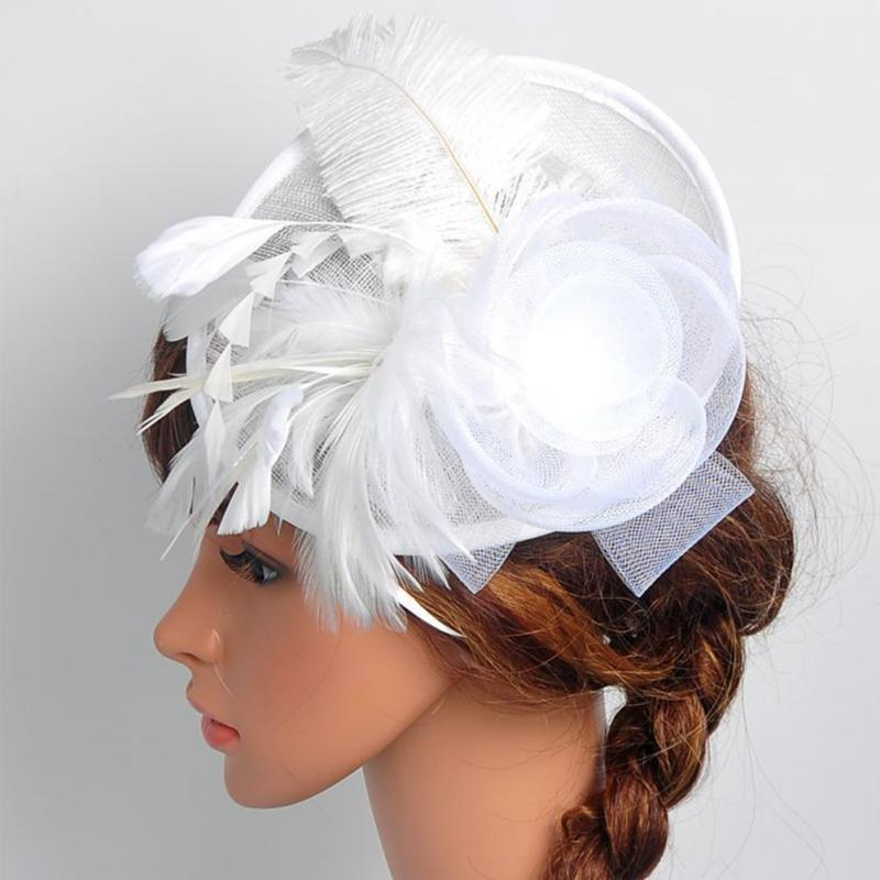 Hot Sales Net Feather Fascinator Big Headband Clip Wedding Bridal Women Tea Party Church Hat