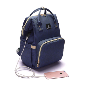 Image 4 - Fashion Maternity Nappy Bag With USB Interface Large Capacity Waterproof Diaper Bag Kits Backpack Maternity Nursing Baby Bag