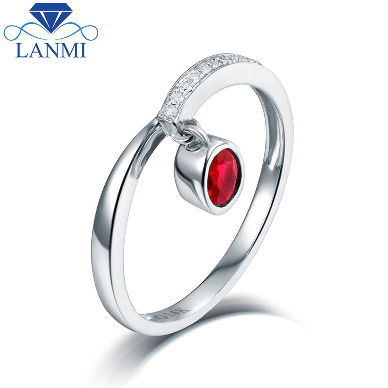Red Ruby Ring for Women Natural Diamond Stylish Design 14K White Gold Fine Jewelry Wholesale stylish fulled white daisy pattern scarf for women