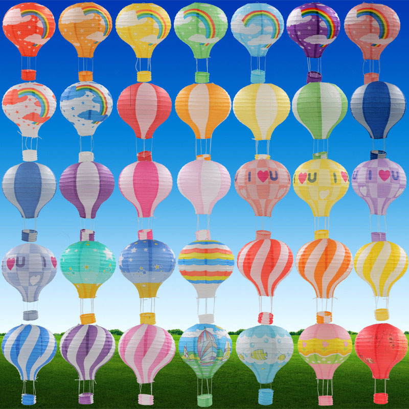 "AJP 1pc 12''30cm / 16 ""40cm Rainbow Hot Air Balloon Paper Lantern Bar decora Kids Birthday Party Wedding Wedding Decoration կուսակցության պարագաներ"