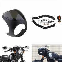 7 'moto phare rétro café Racer carénage pare-brise pare-brise phare va couvrir Cubierta faro carenado