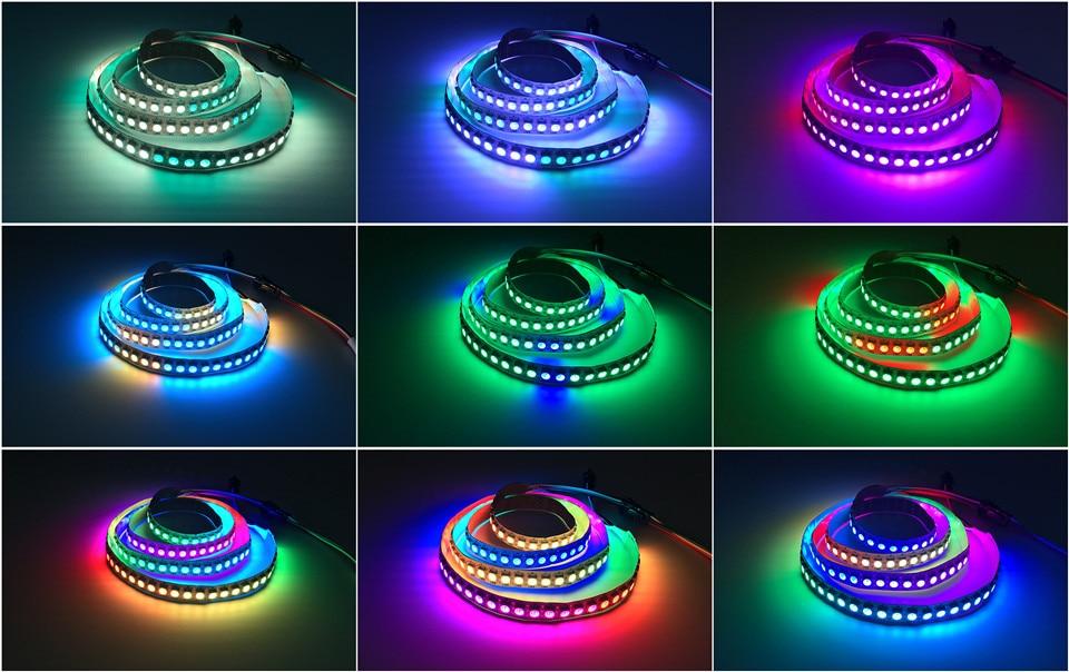 HTB15EMIdPgy uJjSZR0q6yK5pXaZ DC5V WS2812B 30/60/144 leds/m Smartled pixel RGB individually addressable led strip light Black/White PCB IC WS2812 pixel strips