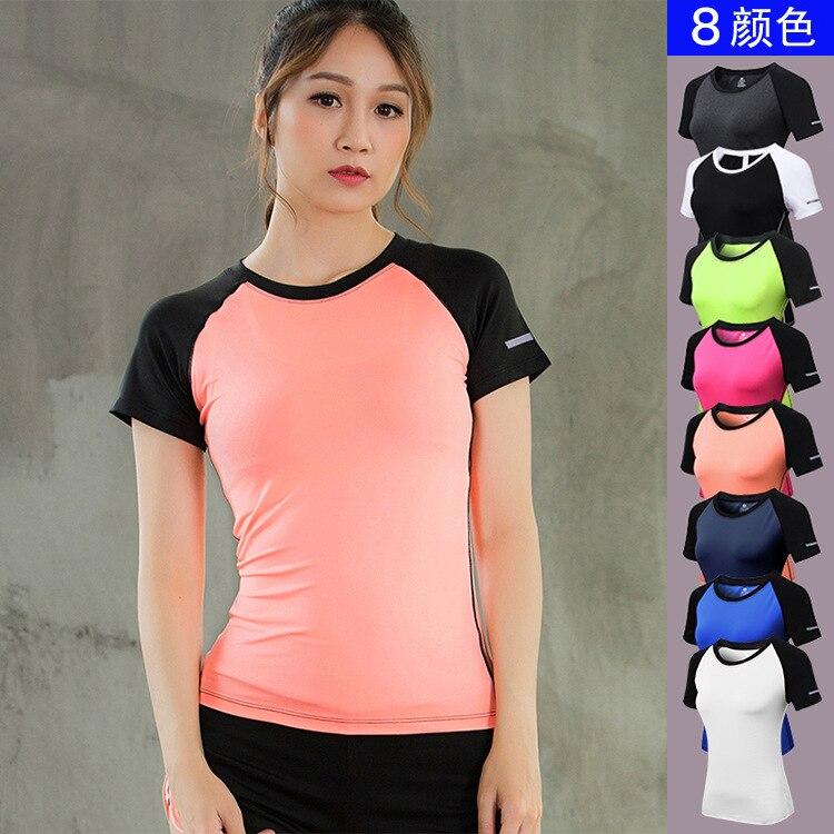 Для женщин Фитнес Бег рубашка короткий рукав Светоотражающие ночь спортивной подготовки  ...