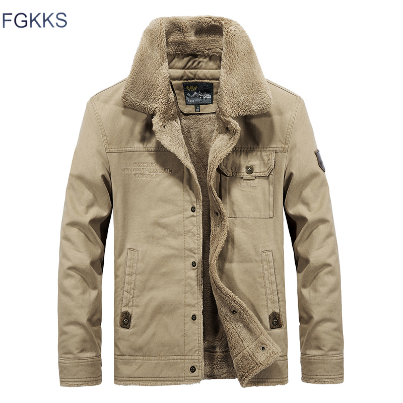 Image 2 - FGKKS Brand Men Jackets Bomber Winter 2019 Autumn Men's Warm Jacket Fur Collar Outwear Male Casual Jackets Coats-in Jackets from Men's Clothing