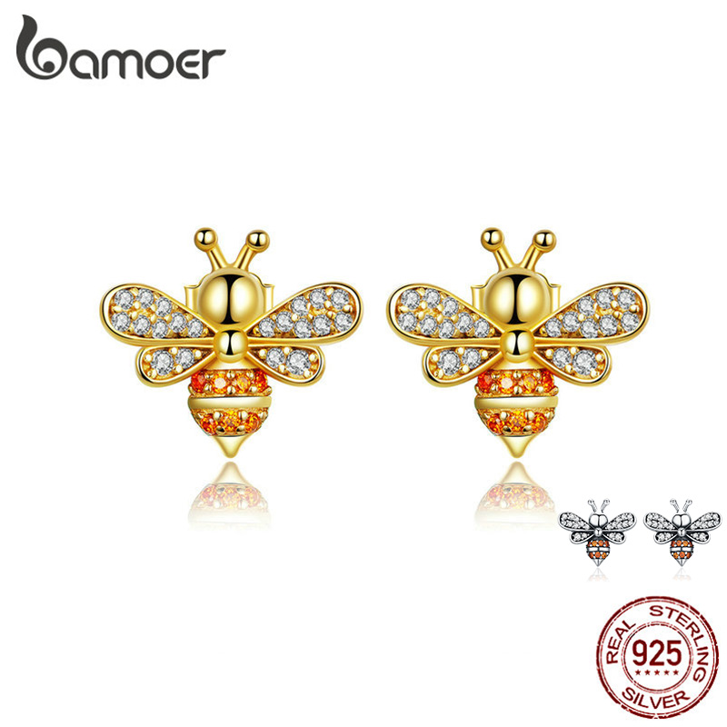 87b85053f1 BAMOER Baby Bee Stud Earrings for Women Fashion Crystal Ear Studs 925  Sterling Silver Jewelry for