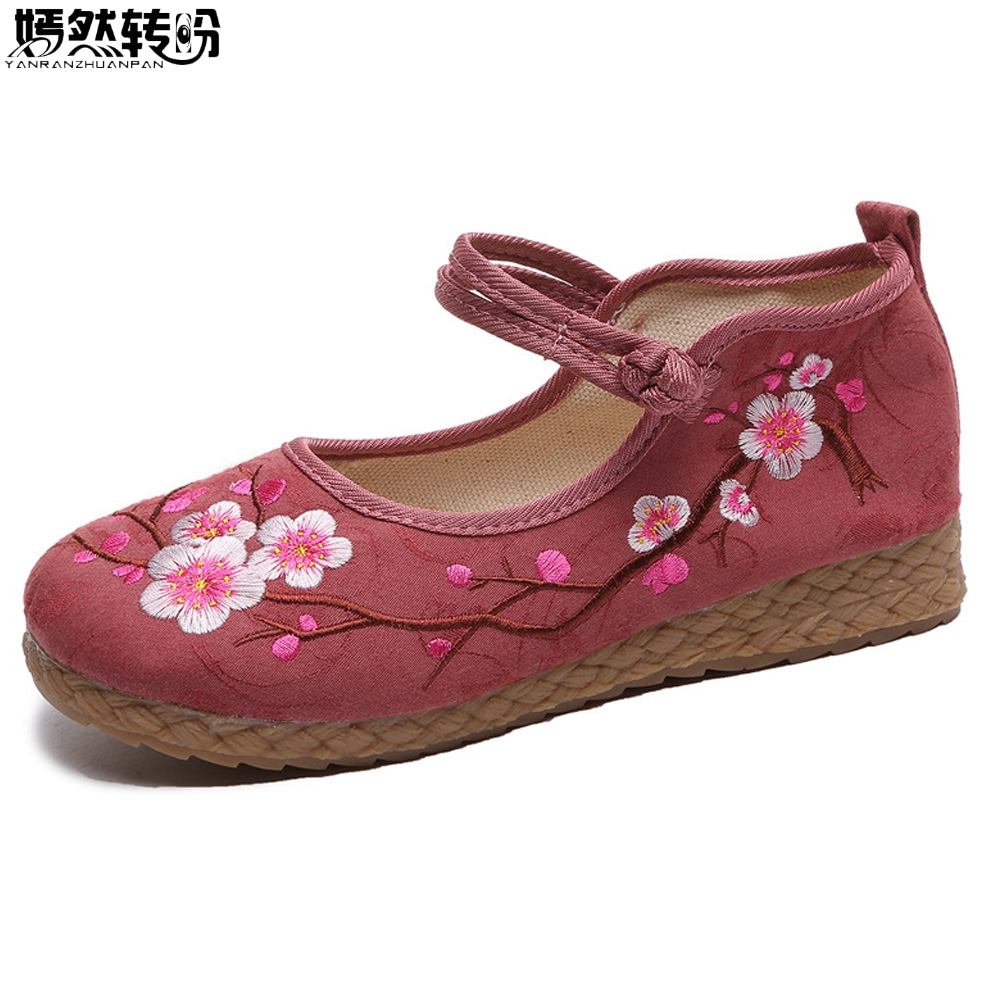 Women Shoes Flats Cotton Linen Canvas Plum Embroidered Cloth Shoes Woman Woven Round Toe Ballets Zapatillas Mujer Casual thai boho style cotton linen canvas cloth shoes new national handmade woven round toe flat shoes with embroidered