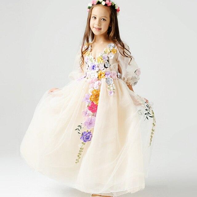 2-12Y Princess Tulle Flower Girl  floor length Dress Kids Party Pageant Bridesmaid Wedding Dress Lavender Gown Dress Robe Enfant