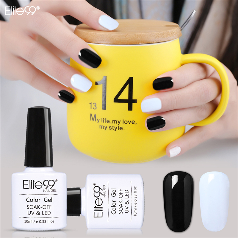Elite99 10ML UV Gel Nail Polish LED UV Lamp Gel Lacquer Gel Polish Black White Semi Permanent Gel Varnish Nail Primer Base Top