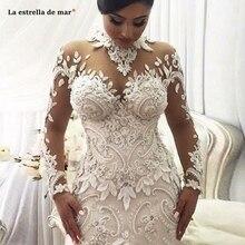 Robe de mariage 2020 nova alta pescoço rendas manga longa marfim sexy sereia dubai muçulmano vestido de casamento travamento da sposa luxu