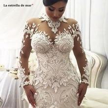 robe de mariage 2020 New High Neck Lace Long Sleeve Ivory Sexy Mermaid Dubai Muslim Wedding Dress Trailing Vestito da Sposa Luxu