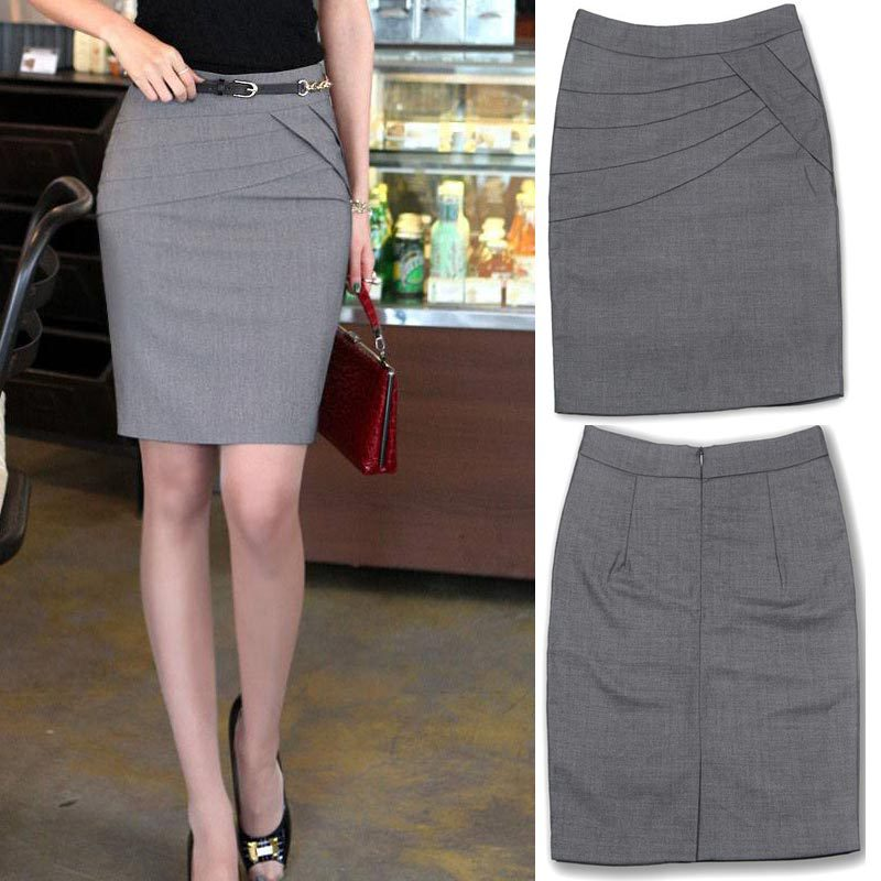 S to 4XL 4 seasons solid color Knee length formal pencil skirt for ...