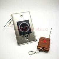10 stücke Keine Touch Infrarot Exit Taste + Fernbedienung Metall Oberfläche Led anzeige Ausfahrt Schalter für Access Control system| |   -