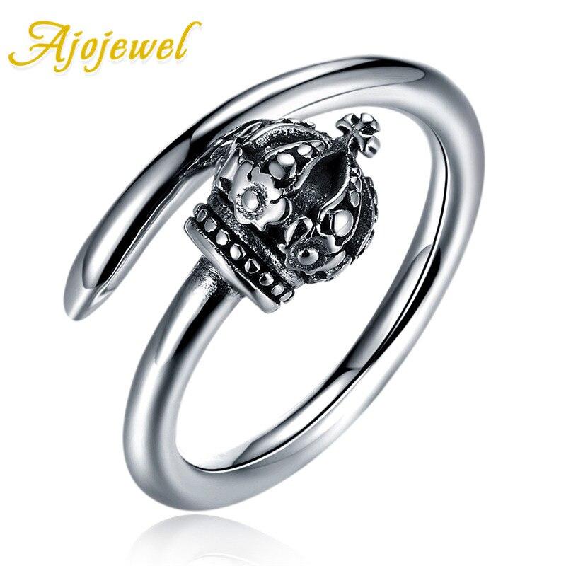 Ajojewel Queen корона открытие кольцо лет 925 серебро Винтаж ювелирные изделия изысканные тонкие простые кольца для женщин Винтаж ювелирные издели...