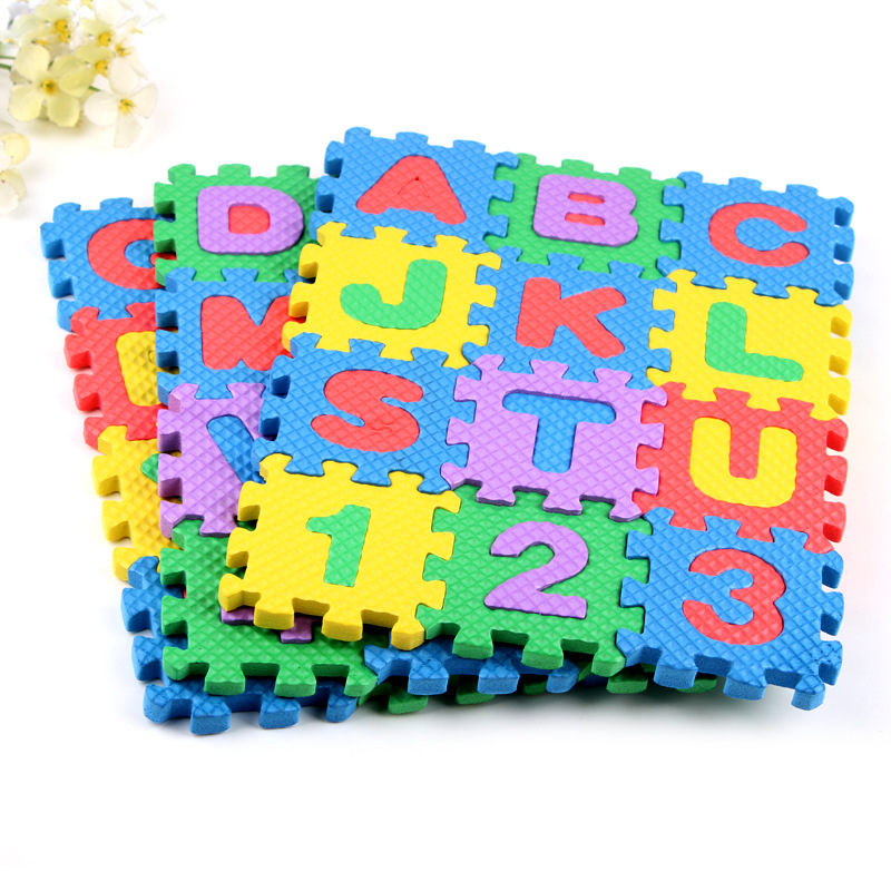 36pcs 3d Puzzle Kids Educational Toys Children Mini EVA Foam Alphabet  Letters Numbers Floor Soft Baby Mat EVA Puzzle Mats Toys