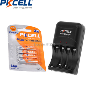 4PCS PKCELL 1.6V 900mWh Rechargeable Batteries NI ZN AAA Battery packed NI-ZN Charger for AA/AAA battery EU/US plug
