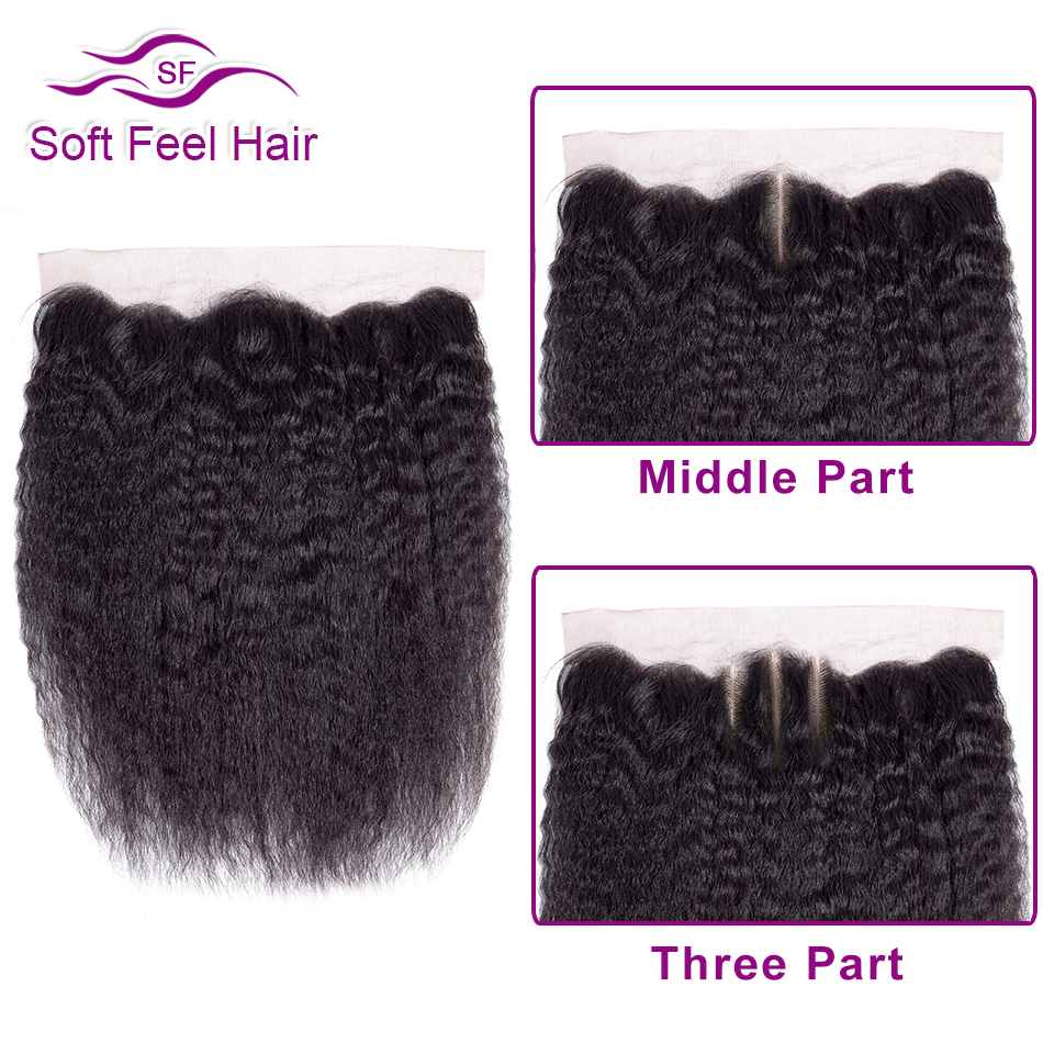 Image 2 - Soft Feel Hair Brazilian Kinky Straight Frontal 13x4 Ear To Ear Lace Frontal Closure Remy Human Hair Lace Frontal With Baby Hair-in Closures from Hair Extensions & Wigs