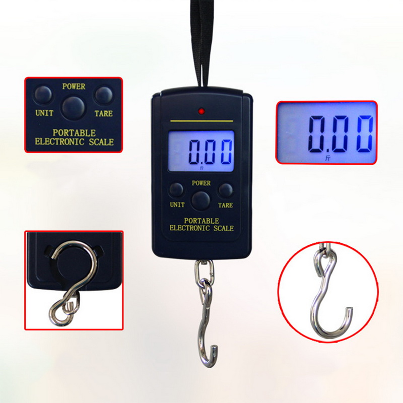 Image 4 - 40kg x 10g Mini Digital Scale for Fishing Luggage Travel Weighting Steelyard Hanging Electronic Hook Scale, Kitchen Weight Tools-in Weighing Scales from Tools