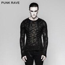 Панк рейв мужской сексуальный Выдалбливают ремешками свитер Топ рубашка черный Banaged рок перформация Топ T474