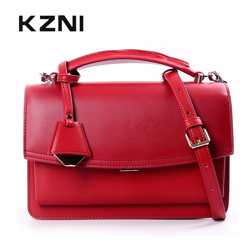 KZNI Genuine Leather Luxury Handbags Women Bags Designer Women Leather Handbags Top-handle Bags for Girls Sac a Main 9046