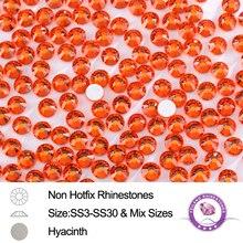 цена на Glue-on SS3 To SS30 Hyacinth Flatback Round Glass Non Hotfix Rhinestones For Nail Art Bags Shoes Garment