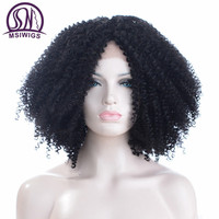 MSIWIGS Curly Short Lace Front Wigs Full Hair Black Handed Crochet Synthetic Wig for Black Women Heat Resistant Fiber