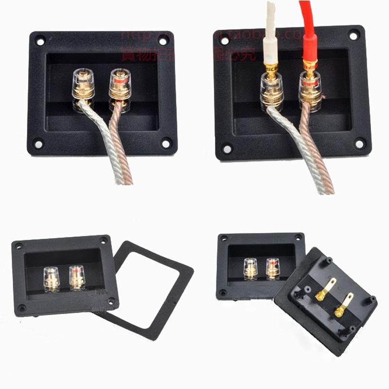 2gab. Augstas kvalitātes divas skaļruņu savienojuma kārba savienotāja skaļruņu padome Audio aksesuāri biezāka audio vadu paneļa vara termināls