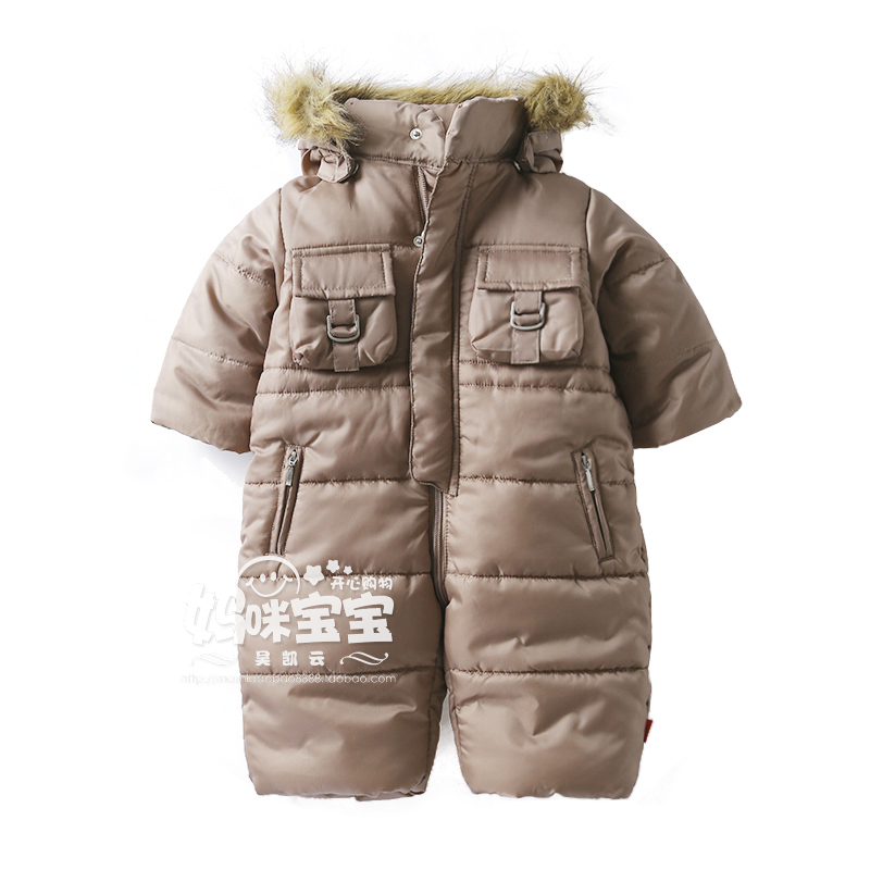 ФОТО New 2015 Autumn and winter rompers newborn baby clothes	thick cotton rompers kids thermal jumpsuits wadded jacket roupa infantil
